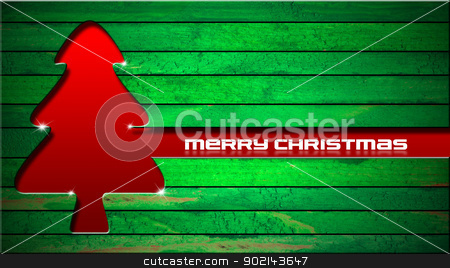 Red Christmas Tree stock photo, Red and stylized Christmas tree with reflections on green wood background by catalby