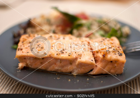 salmon stock photo, roasted salmon fillet with fresh green leaves salad and quinoa by Desislava Dimitrova