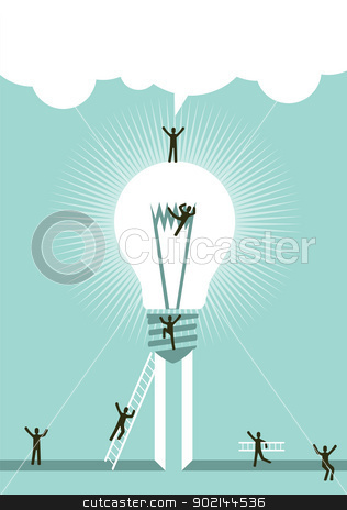 Achieving a successful idea stock vector clipart, Stairway to successful idea concept illustration. Vector file layered for easy manipulation and custom coloring. by Cienpies Design