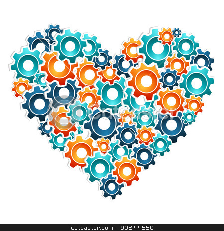 Love working machine illustration stock vector clipart, Heart shaped with multicolored engineering gears. Vector illustration layered for easy manipulation and custom coloring. by Cienpies Design