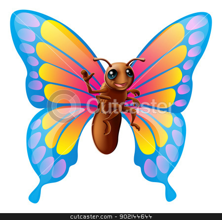 Cute cartoon butterfly  stock vector clipart, Illustration of a happy cute cartoon butterfly mascot waving by Christos Georghiou