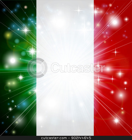 Italian flag background stock vector clipart, Flag of Italy background with pyrotechnic or light burst and copy space in the centre by Christos Georghiou