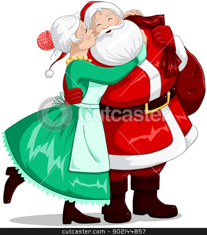 Mrs Claus Kisses Santa On Cheek And Hugs stock vector clipart, A vector illustration of a Christmas elf holding a present and smiling. by Liron Peer