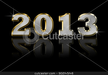 Happy 2013 stock photo, 2013 written on a black background in metal letters with reflection by wen777