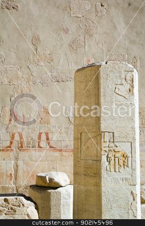 Pillar in temple of Hatchepsut stock photo, Pillar in temple of Hatchepsut, Luxor, Egypt by Aikon