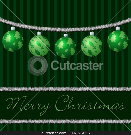 Merry Christmas stock vector clipart, Green tinsel and ball cards in vector format.  by piccola
