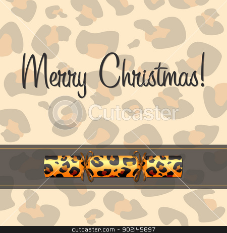 Leopard Card stock vector clipart, Leopard Christmas cracker card in vector format. by piccola