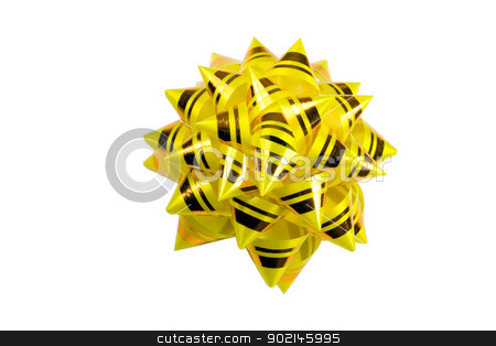 yellow bow  on  white background stock photo, yellow bow isolated on  white background,to be used in placing on top of items - gifts, products, etc by Vladyslav Danilin
