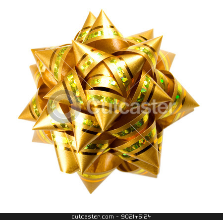 Gift golden bow isolated on  white background stock photo, golden bow isolated on  white background,to be used in placing on top of items - gifts, products, etc. by Vladyslav Danilin