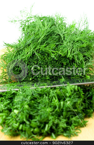 dill stock photo, dill preparation close-up isolated on white background by Vladyslav Danilin