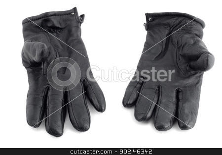 black leather gloves stock photo, black leather gloves close-up isolated on white background by Vladyslav Danilin