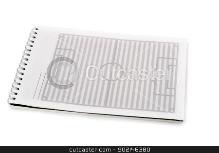 soccer field  stock photo, soccer field in spiral note pad , isolated on white background by Vladyslav Danilin