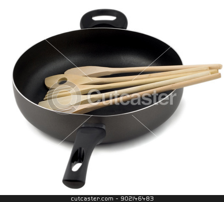 frying pan with wooden spoon stock photo, Frying pan with wooden spoon, isolated on a white background. by Vladyslav Danilin