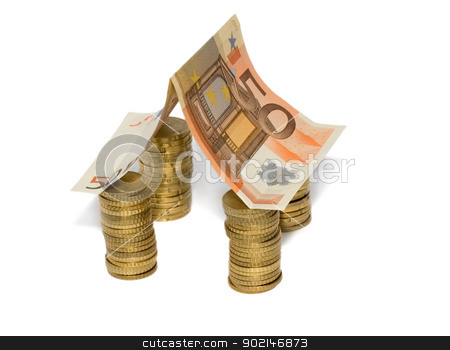 Euro house stock photo, Euro house made from 50 Euro bill with Euro coins isolated on white background by Vladyslav Danilin