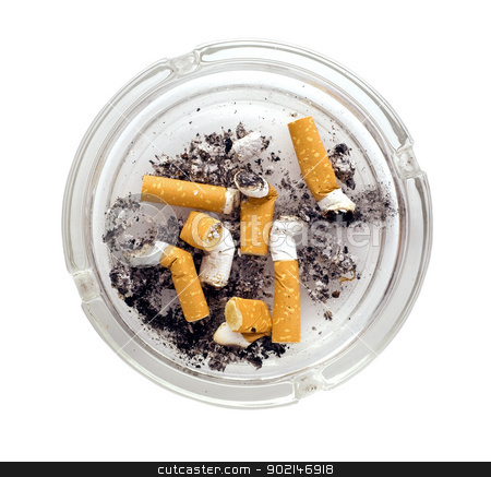 ashtray stock photo, ashtray full of cigarettes close-up isolated on white background by Vladyslav Danilin