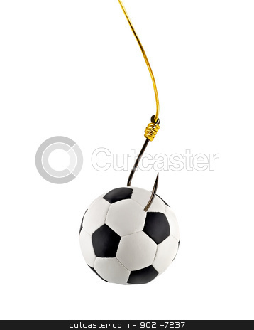 soccer ball stock photo, soccer ball on fishing hook isolated on white background by Vladyslav Danilin