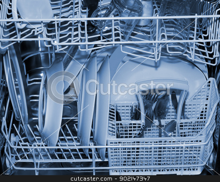 DISHWASHER stock photo, DISHWASHER Clean plates and forks inside background by Vladyslav Danilin
