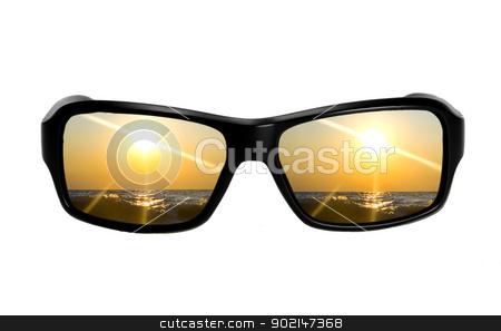 Sunglasses with reflection stock photo, Sunglasses with reflection seascape isolated on white background by Vladyslav Danilin