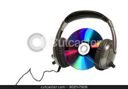 Headphones with CD stock photo, Headphones with CD isolated on white background by Vladyslav Danilin