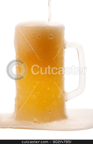 beer mug full stock photo, beer mug full and coins isolated on white background by Vladyslav Danilin