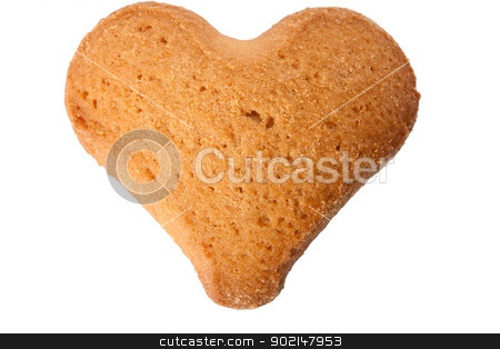 cookie heart stock photo, cookie heart isolated on white background by Vladyslav Danilin