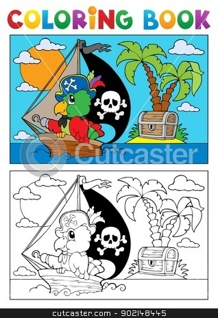 Coloring book pirate parrot theme 3 stock vector clipart, Coloring book pirate parrot theme 3 - vector illustration. by Klara Viskova