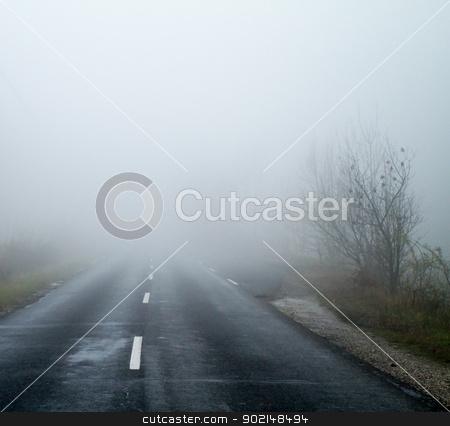 Asphalt road in an autumn fog stock photo, Asphalt road in an autumn fog by Jozsef Demeter