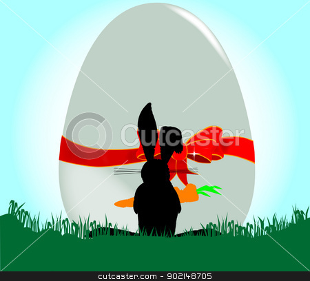 Amazed Rabbit stock vector clipart, An amazed rabbit confronted by a giant Easter egg by Kotto
