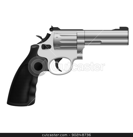 Revolver stock photo, Realistic Revolver. Illustration on white background for design by dvarg