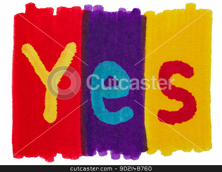 Yes, written with colorful felt tip marker ink pen. stock photo, Yes, written with colorful felt tip marker ink pen. by Stephen Rees