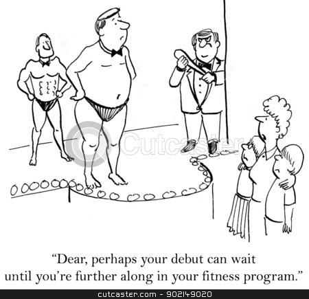Wait until you're further along in fitness program stock photo,