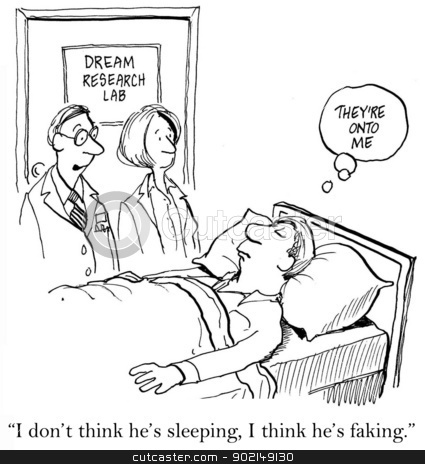 Man is Trying to Trick His Doctor stock photo, The man is at a Dream Research Lab and is supposed to be sleeping but the doctor says to his assistant,