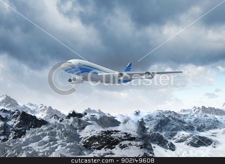 White passenger plane above the mountains stock photo, White passenger plane flying in the blue sky above the mountains with snow tops by Sergey Nivens