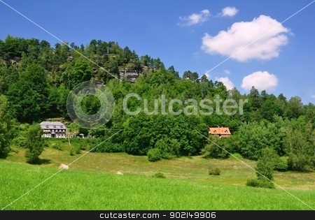Summer landscape stock photo, View of a beautiful summer landscape in Czech Switzerland by Ondrej Vladyka