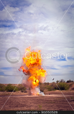Controlled Explosion stock photo, Controlled exploding fireball flames for movie outside by Scott Griessel