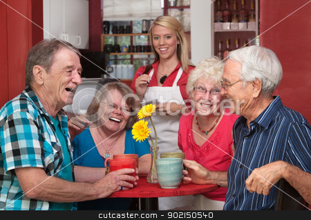 Laughing Group of People stock photo, Group of happy people at cafe with waitress by Scott Griessel
