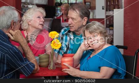 Cute Senior in Wheelchair stock photo, Cute European senior woman in wheelchair with friends by Scott Griessel
