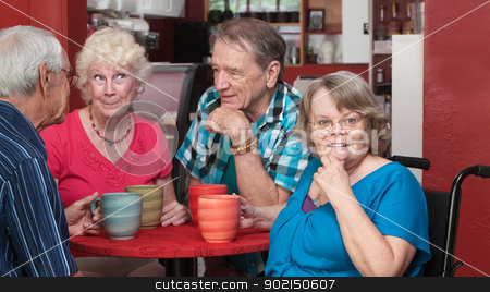 Happy Group of Seniors in a Bistro stock photo, Group of adorable senior citizens talking in a cafe by Scott Griessel