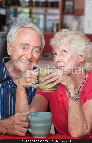 Happy Couple in Coffeehouse stock photo, Smiling elderly couple with mugs at a coffeehouse by Scott Griessel