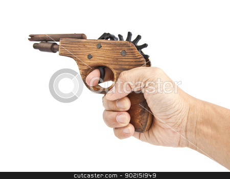 hand with an old toy gun stock photo, hand with an old toy gun, on white background by thepoo