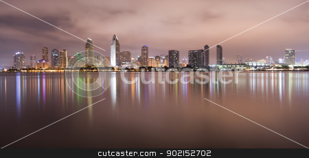 San Diego California stock photo, San Diego California Skyline at Night by Christopher Boswell