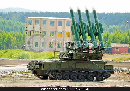 Four rocket launcher stock photo, Rocket launcher at show program on military exhibition in Nizhny Tagil by Aikon