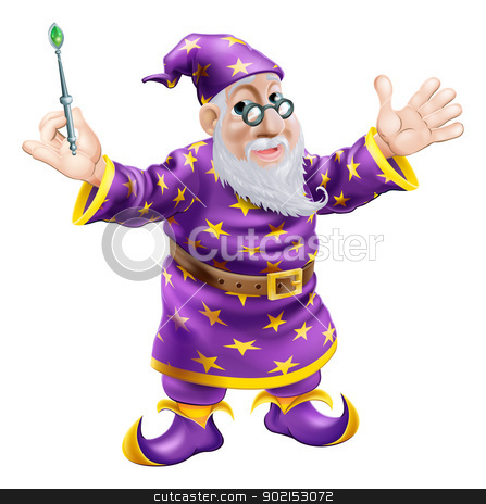 Wizard with Wand stock vector clipart, A cartoon cute friendly old wizard character holding a wand  by Christos Georghiou