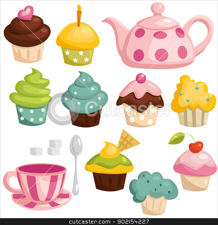 Tea set and cupcakes stock photo, Tea set and cupcakes, vector illustration  by kariiika