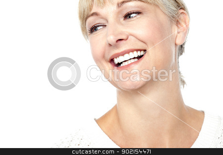 Closeup shot of a beautiful woman smiling heartily stock photo, Closeup shot of a beautiful woman smiling heartily, cropped image. by Ishay Botbol