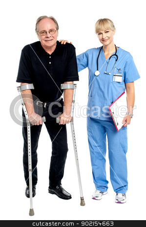 Physician supporting her courageous patient stock photo, Physician supporting her courageous patient, helping him walk. by Ishay Botbol