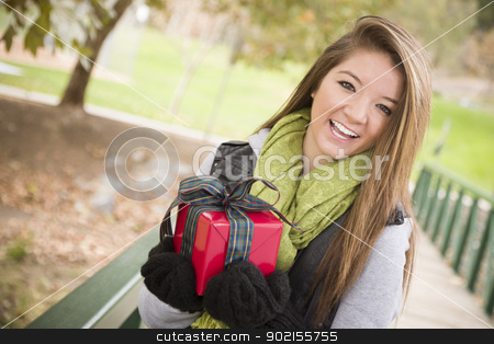 Pretty Woman with Wrapped Gift with Bow Outside stock photo, Pretty Festive Smiling Woman with Wrapped Gift with Bow Outside. by Andy Dean