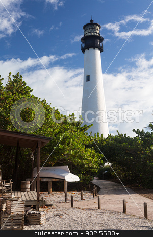 Cape Florida lighthouse in Bill Baggs stock photo, Cape Florida Lighthouse and Lantern in Bill Baggs State Park in Key Biscayne Florida by Steven Heap
