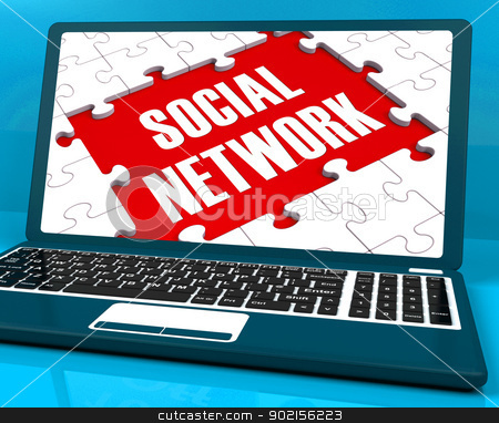 Social Network On Laptop Showing Online Communications stock photo, Social Network On Laptop Showing Online Communications And Global Interactions by stuartmiles