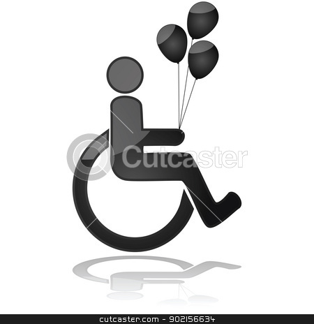 Kid in wheelchair holding balloons stock vector clipart, Icon illustration showing a child in a wheelchair holding balloons by Bruno Marsiaj